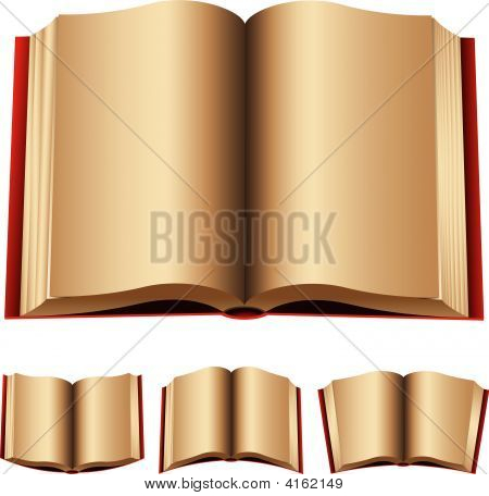 open red books isolated on a white background stock photo