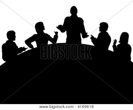 Editable vector silhouette of a business meeting with each figure as a separate object stock photo