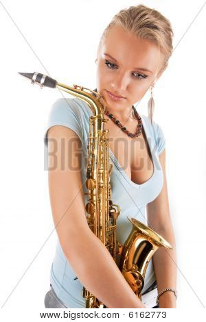 sexy young pretty blonde saxophone player dreaming before concert isolated on white stock photo