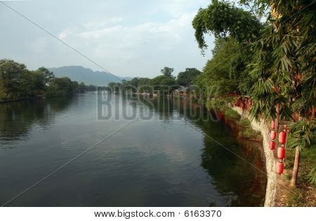 The scenic bank of the Yu Long River in Gaungxi China stock photo