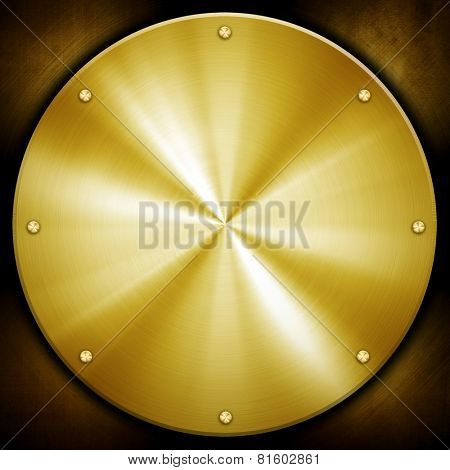 golden knob on metal plate stock photo