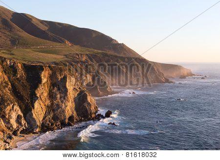 Shoreline rocks in sunset light.