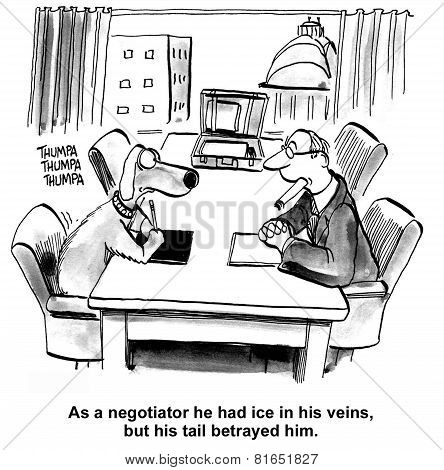 Cartoon of business dog and lawyer man in negotiations, the dog has ice in his veins but his tail betrayed them. stock photo