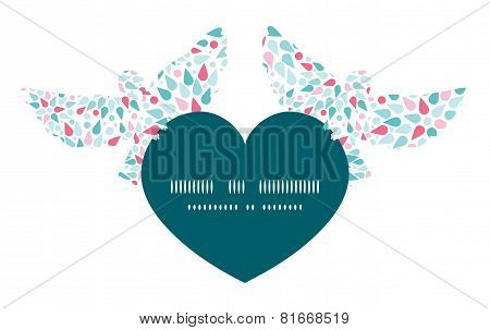 Vector abstract colorful drops birds holding heart silhouette frame pattern invitation greeting card template graphic design stock photo
