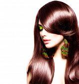 Hair. Delightful Brunette Girl with Healthy Long Brown Hair. Magnificence Model Woman Portrait detac