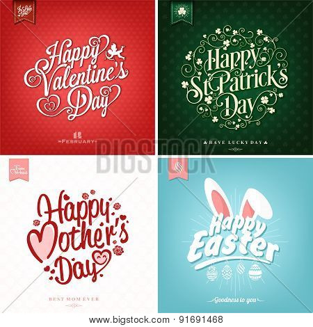 Spring and Summer Set with Mother\'s Day, Valentine\'s day, Saint Patrick Day And Easter Typographical