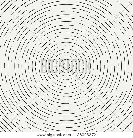 Abstract segmented geometric circle shape. Radial concentric circles. Rings. Swirly concentric segmented circles. Design element. Random lines. Vector illustration. Texture. Background. stock photo