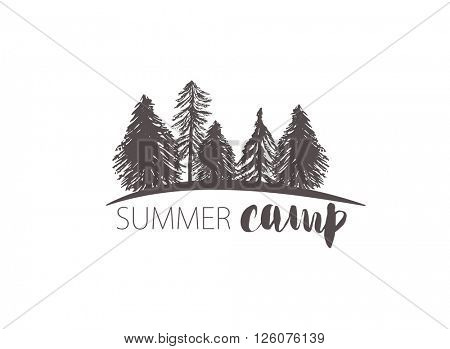 Abstract retro vector camping emblem. Outdoor activity symbol with grunge fir and pine trees landsca