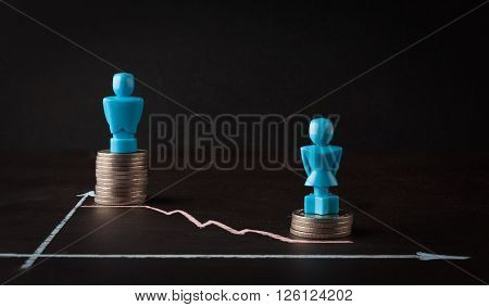 Wage gap and gender equality concept depicted with male and female figurins standing on top of coin piles and line graph stock photo