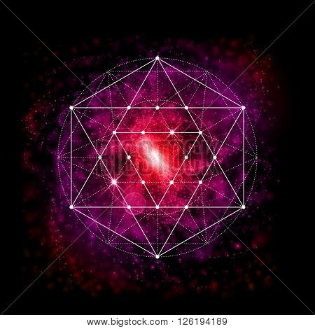 Sacred geometry abstract vector illustration. Symbol of alchemy, religion and spirituality. Metatron