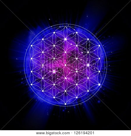 Flower of life sign. Sacred geometry abstract vector illustration. space explosion. Symbol of gensis