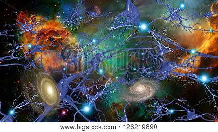 Brain Cells and Deep Space 3D Render stock photo
