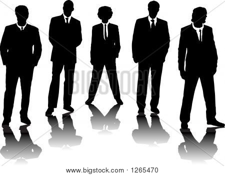 a small group of business people in black silhouette stock photo
