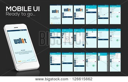 Online Money Transfer UI, UX and GUI template layout with flat web icons including Login, Sign-Up, A