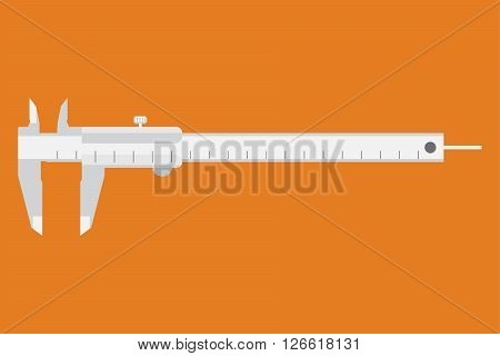 Caliper icon. Measuring instrument engineer architect technician. Vector illustration. Movable part caliper are grouped. Easy-to-use resizable. Easy to use for different size. Measuring instrument. stock photo