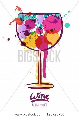 Vector watercolor illustration of colorful wine glass and hand drawn lettering. Abstract watercolor background. Design concept for wine label wine list menu party poster alcohol drinks. stock photo