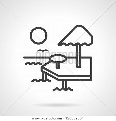 Umbrella and table on deck among sea waves, birds and sun in sky. Sea bungalow for vacation or honeymoon. Travel agency. Simple black line vector icon. Single element for web design, mobile app.