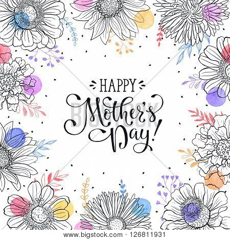 Mother\'s Day greeting card template. Happy Mothers day wording with flowers outlines and watercolor dots on white background. Floral frame with text for Mother\'s Day.
