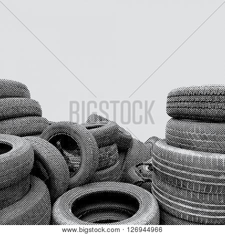 vector old tires in dotted halftone raster stock photo