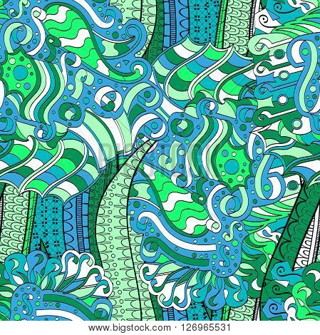 Tracery seamless calming pattern. Mehendi design. Neat even colorful blue harmonious doodle texture. Algae sea motif. Indifferent discreet. Ambitious bracing usable curved doodling mehndi. Vector. stock photo
