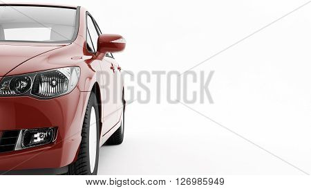 New CG 3d render of generic luxury detail red sports car driving illustration isolated on a white background. Mockup with stylized noise effects stock photo