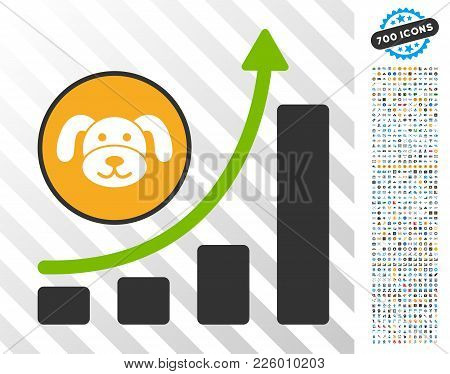 Puppycoin Growing Chart icon with 700 bonus bitcoin mining and blockchain icons. Vector illustration style is flat iconic symbols designed for cryptocurrency software. stock photo