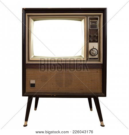 Vintage television - old TV with frame screen isolate on white with clipping path for object, retro technology stock photo