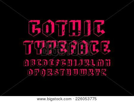 Decorative sans serif bulk font in gothic style. Hollow letters with rough texture for logo and title design. Pink print on black background stock photo