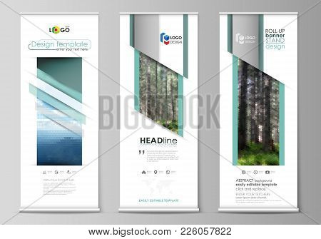 Set Of Roll Up Banner Stands, Flat Design Templates, Abstract Geometric Style, Modern Business Conce