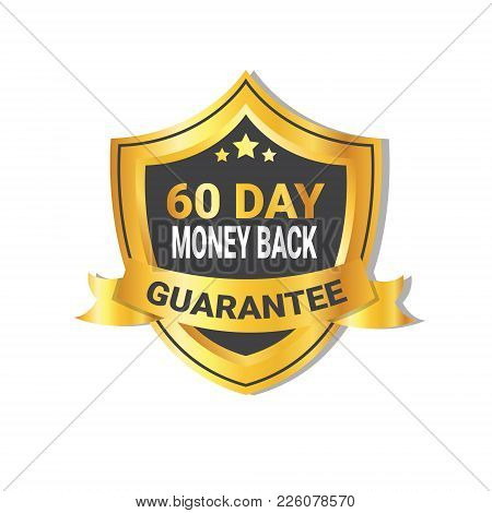 Golden Shield Money Back In 60 Days Guarantee Label with Ribbon Isolated Vector Illustration stock photo