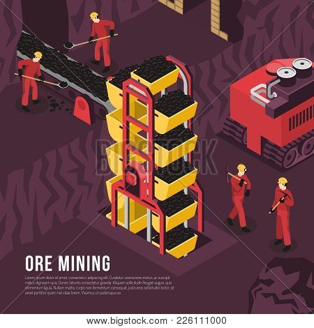 Subsurface underground mining process isometric composition poster with ore output transportation conveyor and boring machine vector illustration stock photo