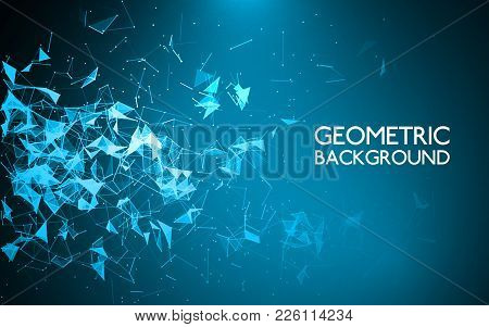 Abstract Polygonal Background. Geometric Graphic Backdrop. Triangle Low Poly Dark Background. Lines