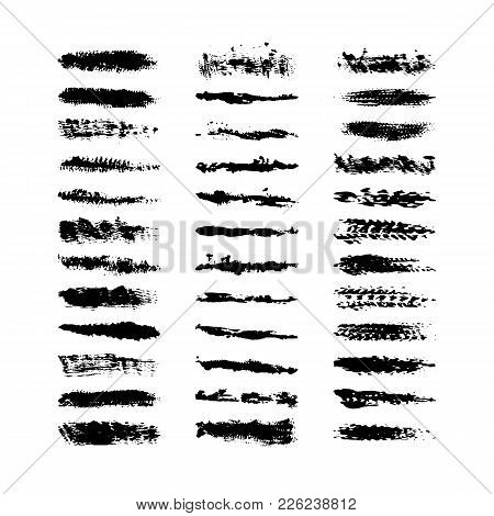 Collection 36 black dirty design element. Grunge brush stroke, paint artistic set. Grunge texture collection. Art brushes included in EPS file stock photo