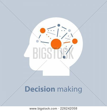 Decision making, emotional intelligence, positive mindset, psychology and neurology, social skills, behavior science, creative thinking, human head, learning concept, vector icon, flat illustration stock photo