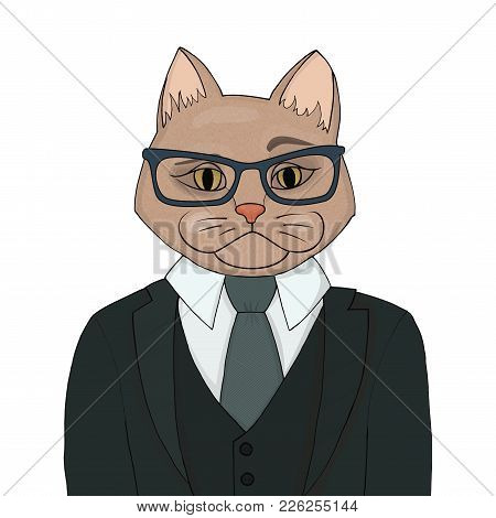 Stylish catman in a suit with a tie. The human body is the head of a cat vector illustration. Portrait of an important person. stock photo