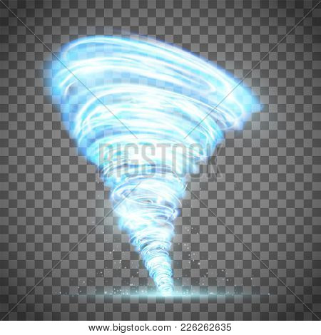 Glowing tornado with lightning. Rotating twister. Isolated on a transparent background. Stock vector illustration. stock photo