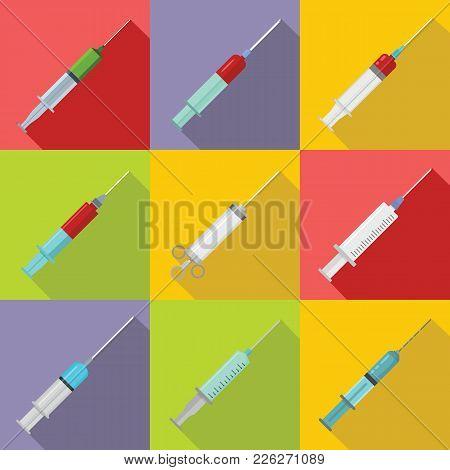 Syringe needle injection icons set. Flat illustration of 9 syringe needle injection vector icons for web stock photo