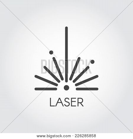 Laser ray half circle icon drawing in outline design. Graphic thin line stroke pictograph. Technology concept contour web sign. Vector illustration of laser cutting series stock photo