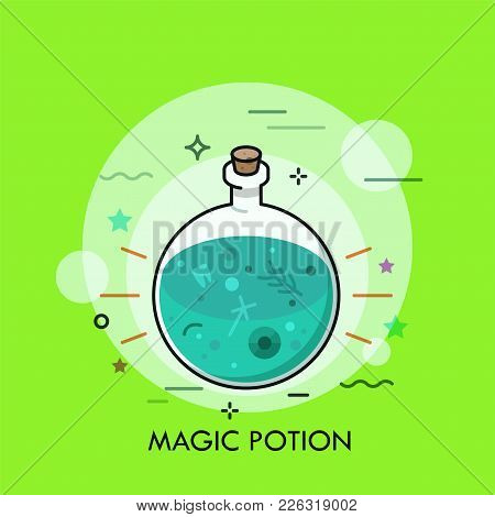 Green liquid in round bottom flask. Concept of magic potion, herbal drink with healing, magical, or poisonous properties, witchcraft and sorcery. Vector illustration for banner, poster, print. stock photo