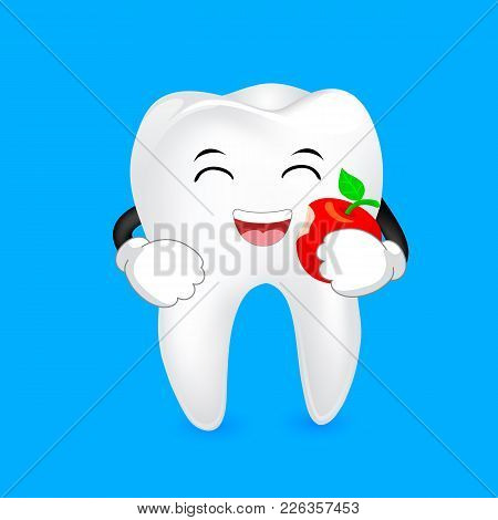 Cute cartoon tooth character eating apple. Dental care concept, illustration isolated on blue background. stock photo
