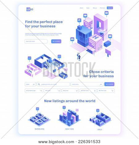 Find commercial real estate for your business. Choose criteria for office. Isometric vector illustation with buildings. Landing page concept stock photo