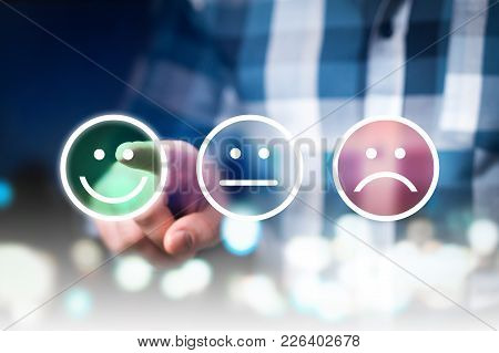 Business Man Giving Rating And Review With Happy, Neutral Or Sad Face Icons. Customer Satisfaction A