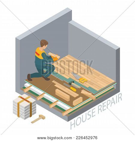 Home repair isometric template. The Repairer is laying parquet on prepared lined insulated base of the premises. Builder in uniform holds a wooden parquet. Parquet service. Vector flat 3d illustration stock photo