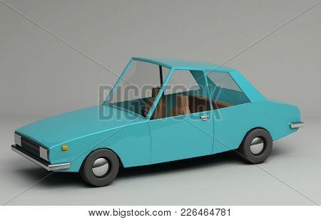 3d rendering of funny retro styled blue car. Glossy bright  vehicle on grey background with realistic shadows. Three-quarter view from above stock photo