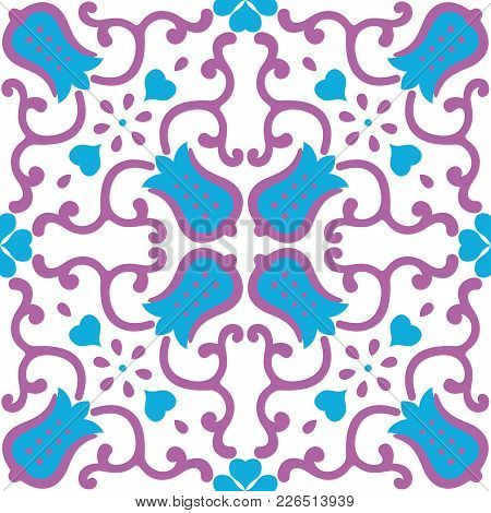 Ornamental pattern vector seamless violet and blue color. Tile pattern - azulejo, portuguese tiles, celtic, spanish, moroccan, talavera, turkish or delft dutch tiles design with flowers motifs stock photo