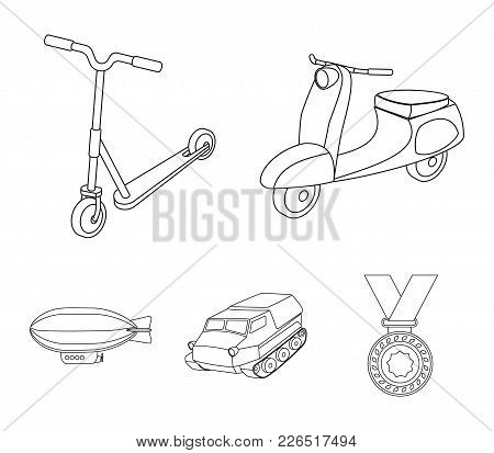 Motorcycle, scooter, armored personnel carrier, aerostat types of transport. Transport set collection icons in outline style vector symbol stock illustration web. stock photo