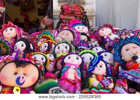 Tarabuco traditional market view, Bolivia. Rag dolls background stock photo