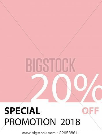 Special Promotion 20 percent pantone style vector (pink color) for banner or poster. Sale and Discounts Concept. stock photo
