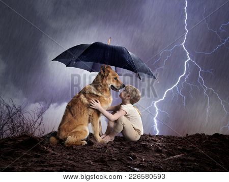 Child And Dog Under An Umbrella. Weather, Hurricane, Lightning Shining. Concept Protection, Reliable