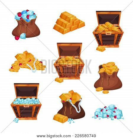 Cartoon set with full bags and wooden chests of pirate treasures, piles of golden bars, coins, diamonds and rubies. Design for gaming interface. Flat vector illustration isolated on white background. stock photo